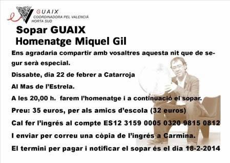 Sopar de Guaix hometage a Miquel Gil